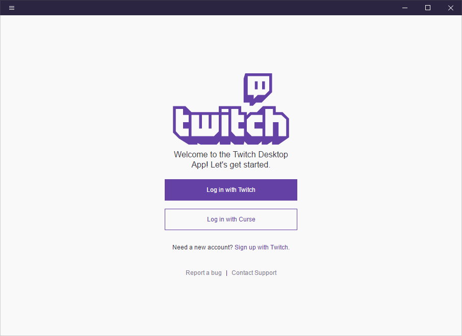 Fig 2: Twitch Desktop - Log in