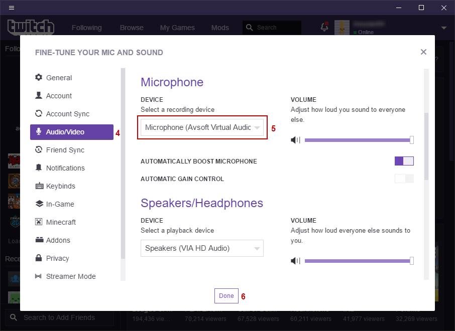 Fig 4: Twitch Deskop - Microphone Device