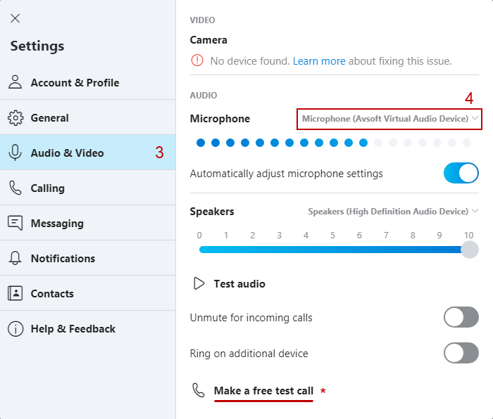 Skype's Audio Settings