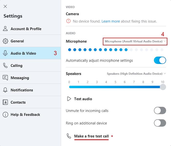 Skype's Audio Settings