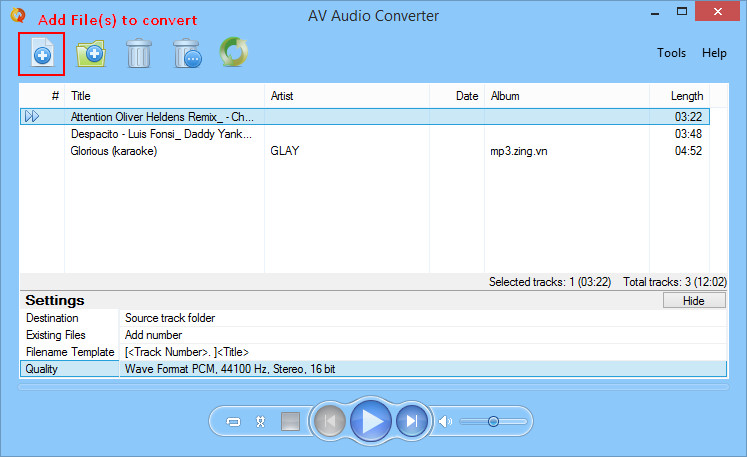 Add Files to Audio Converter