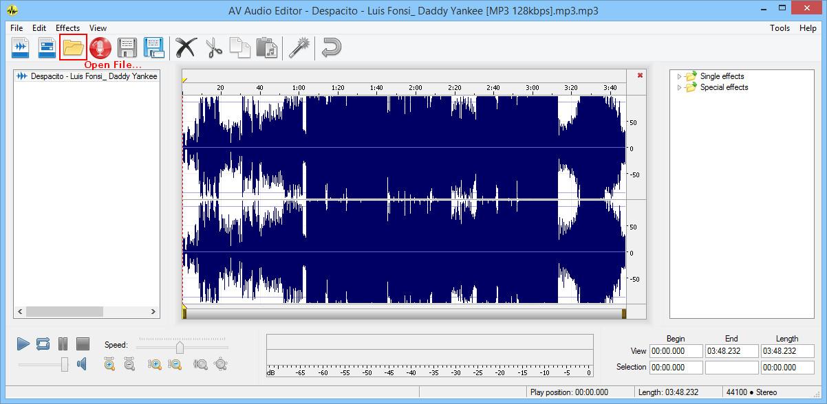 Open single audio file