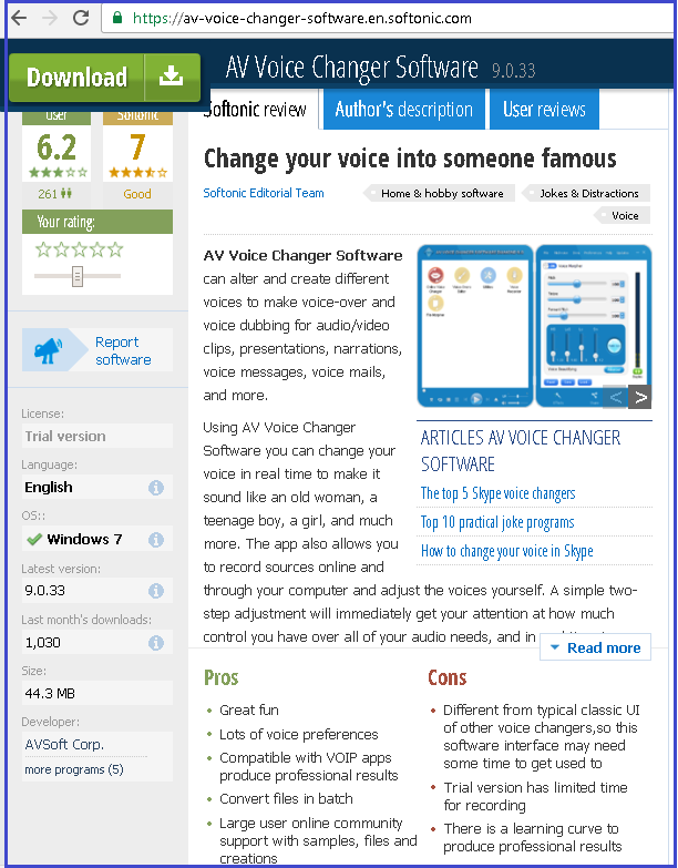 Softonic Editor Review for AV Voice Changer Software