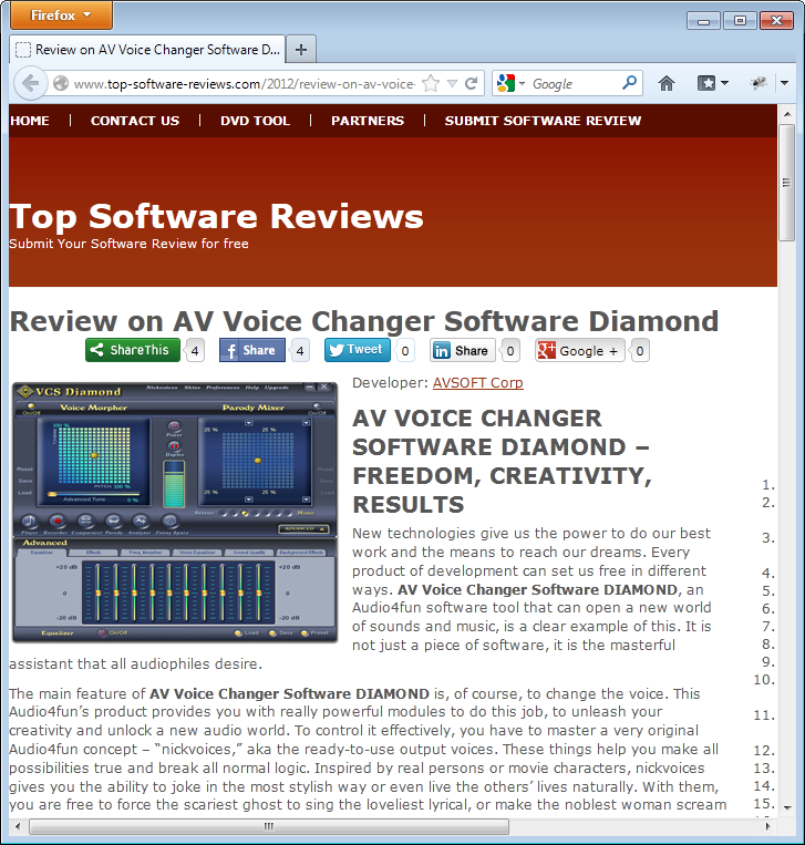 review for voice changer software diamond from top software review