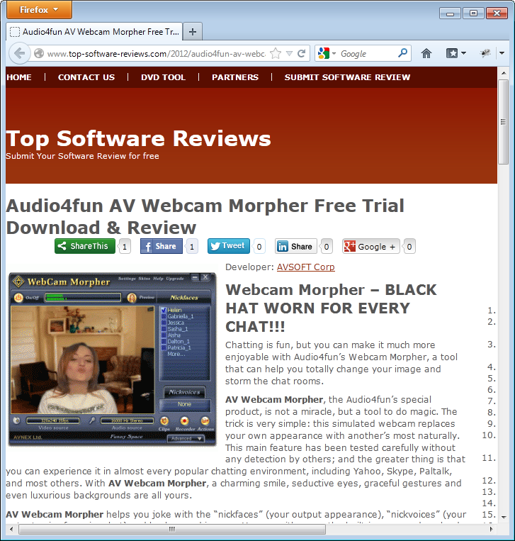 review on AV Webcam Morpher from Top Shareware Review