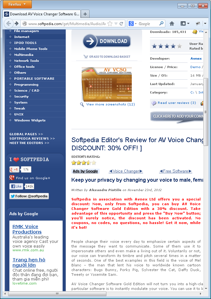 Softpedia editor review for AV Voice Changer Software Gold
