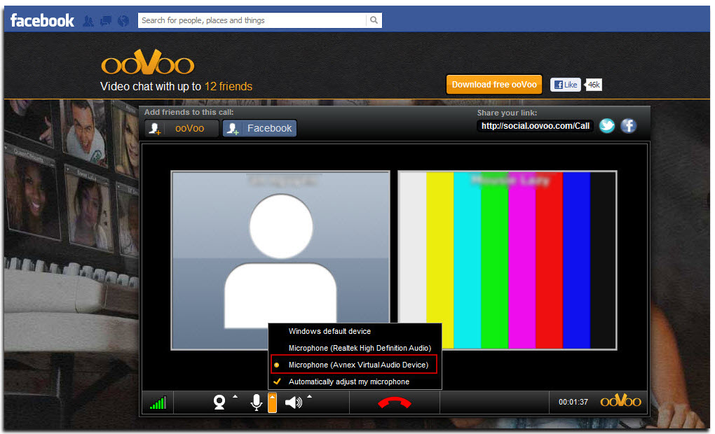 Fig 04: Change Audio Setting of ooVoo
