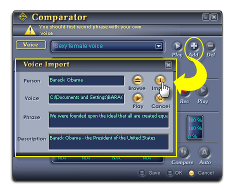Import the Barack Obama's sample voice into Comparator