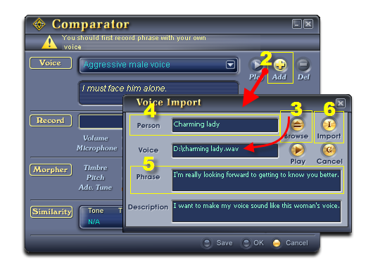 Import the female sample voice into Comparator