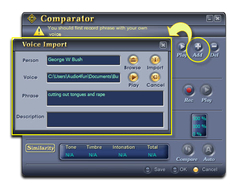 Import the George Bush's sample voice into Comparator