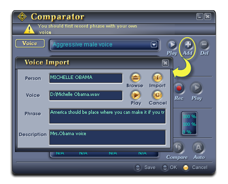 Import the Mrs. Obama's sample voice into Comparator