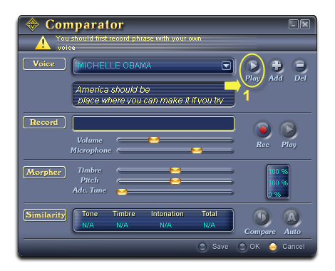 Play sample voice in Voice Comparator dialog box