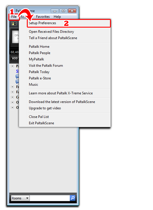 Fig 1: Paltalk Main GUI