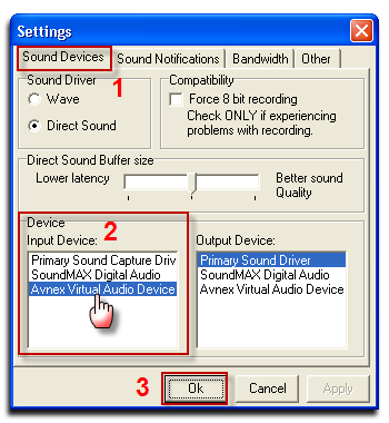 Fig 4: TeamSpeak 2 - Settings