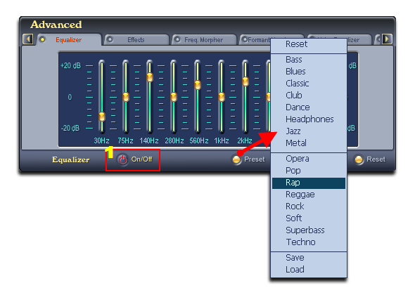 Change Equalizer settings