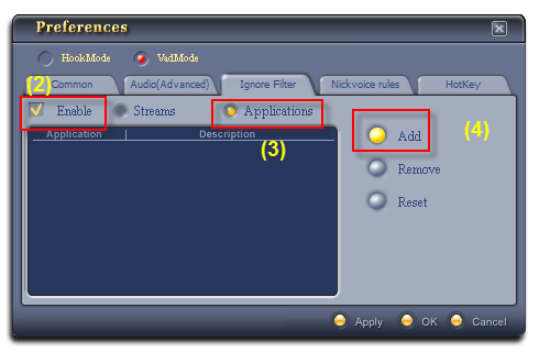Add an application into the Ignore Filter list - Audio4fun Support Center