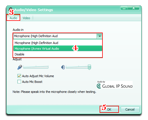 Change Audio In is Microphone (AVnex Virtual Audio Device)
