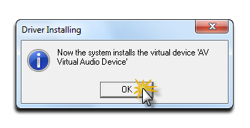 Click OK button to installing VAD