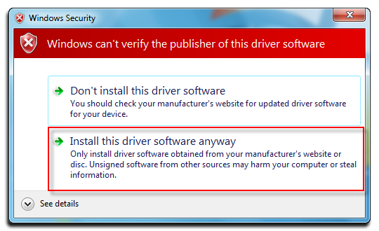 Fig 4: Install driver software