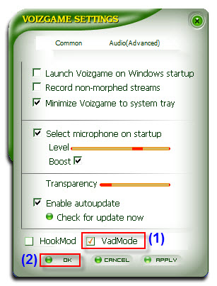 Fig 02: Switch to VAD mode