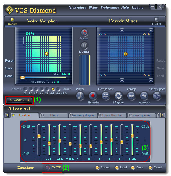 Voice Changer Software Diamond - Equalizer panel