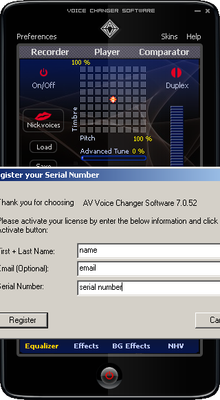 activate full version of voice changer software basic edition