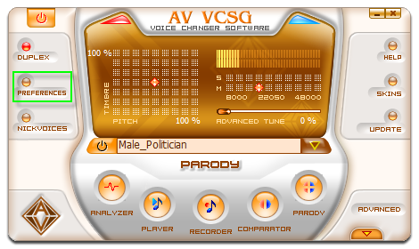 Fig 1: Voice Changer Software Gold main panel