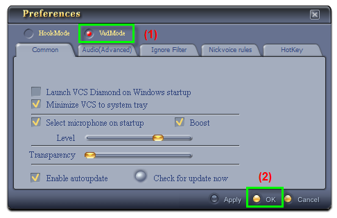 Fig 2: VCSD - Preferences dialog box