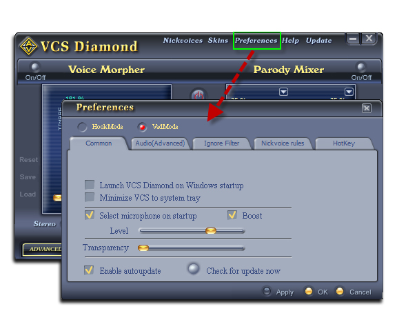 Figure 1: Open VCSD7 Preferences [main panel]