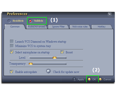 Figure 2: Switch from HookMode to VaDMode [Preferences dialog box]