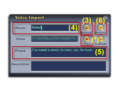 Fig 3: Voice Import dialog box