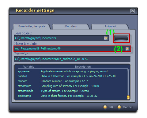 Fig 03: Recoder Settings - Base folder, template tab