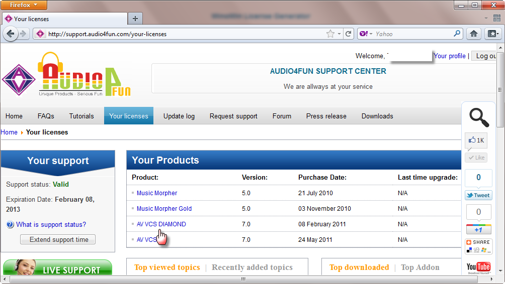 audio4fun.support center your licenses