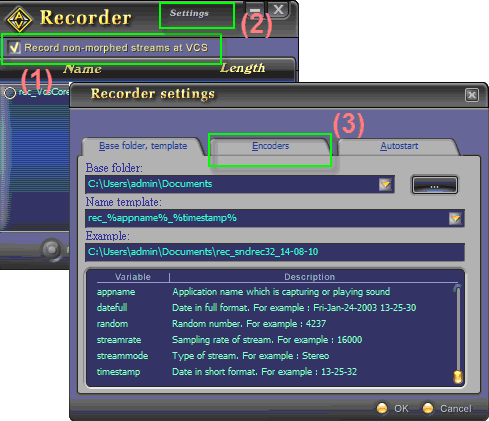 Fig 2 - Recorder settings >> Encoders tab