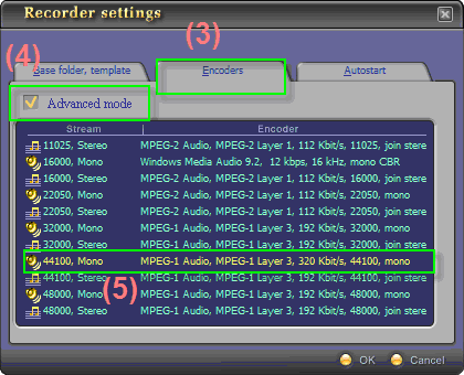 Fig 3 - Choose WAV file format [Recorder Settings - Encoders tab]