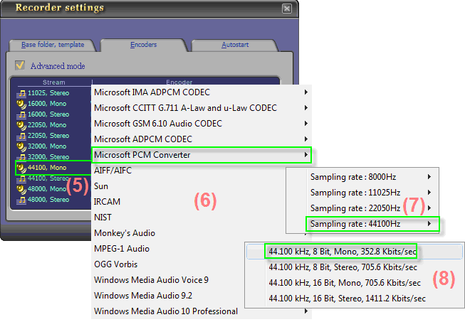 Fig 4 - Choose suitable codec for .wav output format