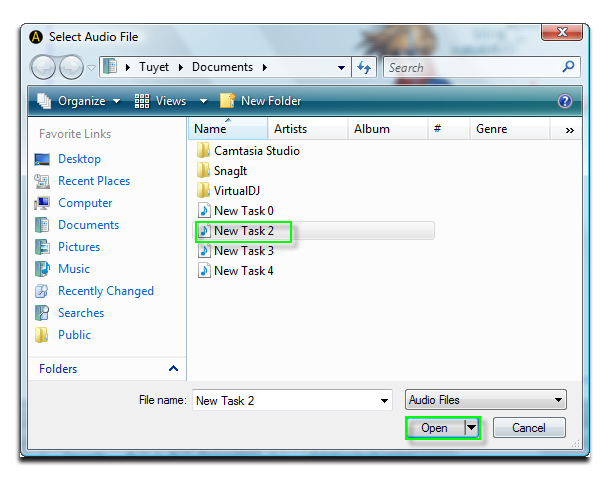 Fig 6 - Select Audio File window