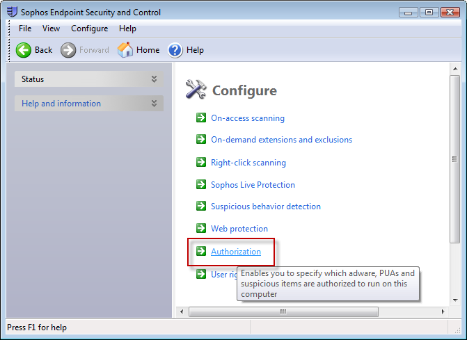 How to remove VCS7 from the block list by Sophos Endpoint Security