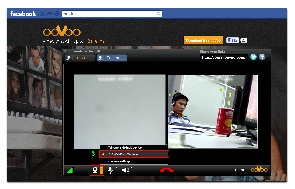 ooVoo apps on Facebook - select AV Webcam Capture