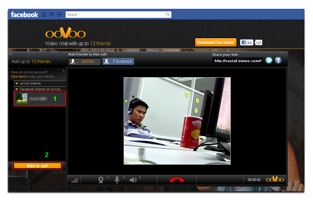 ooVoo apps on Facebook - select your friend's account and call