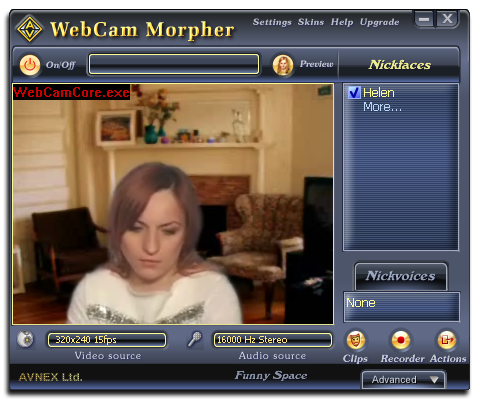 Fig 1: Webcam Morpher Pro
